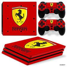 PS4 Pro Playstation 4 Console Skin Decal Sticker Ferrari + 2 Controller Skins