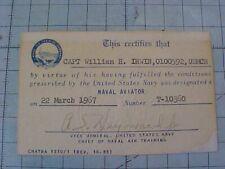 Original Vietnam Usmc Naval Aviator Designation Certificate Card - 1967