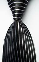 New Classic Striped Black White JACQUARD WOVEN 100% Silk Men's Tie Necktie