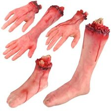 5PCS Bloody Body Parts Hands Foot Leg Set for Stage Prop Haunted house Realistic