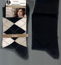 BAUMWOLLMIX  2er Pack weiche Socken, schwarz-kariert/unifarben, 35-38  *disee*