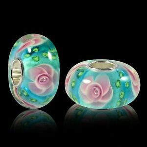 Floral Rose Charm Bead Bracelet Charm Murano Glass Genuine Silver Pandora Size