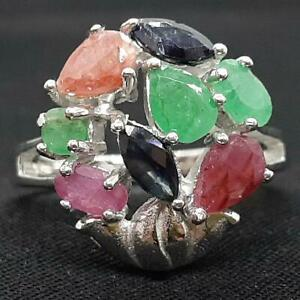 World Class 2.65ctw Ruby, Emerald & Sapphire 925 Sterling Silver Ring Size 8.75