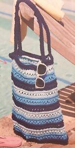 Stripy Shopping Beach Bag Aran KNITTING PATTERN - Measures 32-41cm