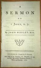 1776 RARE John Wesley 'Sermon On I John v7' 1st Ed.  Methodist/Bible/Theology