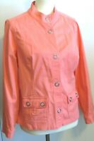 Christopher & Banks Women's Petite Medium Coral long sleeve snap jacket SM. FLAW