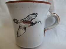 flying duck handcrafted glazed clay stamped mug