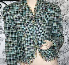 Eunl Rufenburg virgin wool fringe multicolored blazer lined size small s jacket