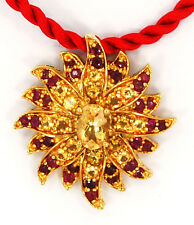 Natural Ruby & Citrine 14k Gold over Solid 925 Sterling Silver Necklace Pendant