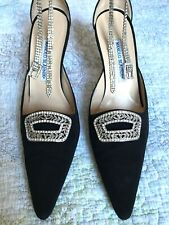 MANOLO BLAHNIK Black Jewel Pointed Stiletto Pumps with Rhinestone Ankle Strap 41