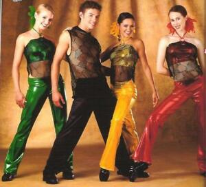 Livin It Up Dance Costume Girls GREEN Mesh Bra Top with Foil Pants Child Small