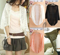 AU SELLER Crochet Knit Uneven Hem Open Cardigan Batwing Top Shawl Scarf  T103