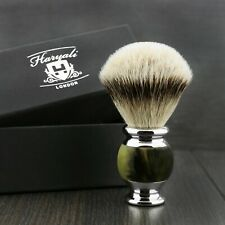 Pure Silver Tip Badger Hair Men's Shaving Brush in Horn Print Handle.