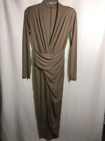 MUSTARD SEED Brown Long Sleeve Knit High Slit Maxi Dress Womens Size Medium