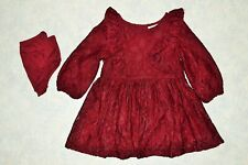 Girls size 18 month Cat & Jack Maroon Lace Layered Holiday Christmas Dress