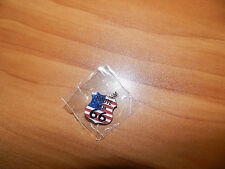 Route US 66 Shield Lapel Hat Pin w/ USA Stars & Stripes Lead Free