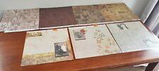 BULK LOT x 7 Multi-coloured VINTAGE POSTCARD PRINTS 12 x 12 Scrapbooking Paper