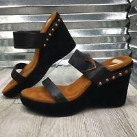 Donald J Pliner Sport Women Leather Black Platform Stud Comfort  Sandal Size 7.5