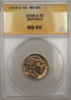 1938-D Buffalo Nickel 5C Coin ANACS MS-65 (10 B)