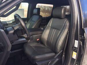 2019 Ford F-150 XLT SuperCrew KATZKIN Black Leather Seat Covers Lariat Design