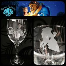 Personalised Disney Beauty & The Beast Wine Glass Handmade Free Name Engraving!