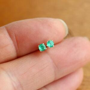 925 Sterling Tiny 3mm Round Natural Zambian Emerald Stud Earrings Gift Boxed