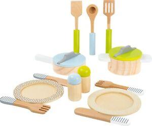 Geschirr- und Topfset Kinderküche Kochgeschirr Küche Zubehör aus Holz für Kinder