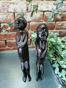 PAIR OF ANTIQUE EBONY AFRICAN UNUSUAL FIGURINES OF WOMEN 32CMS AND 37CMS HIGH