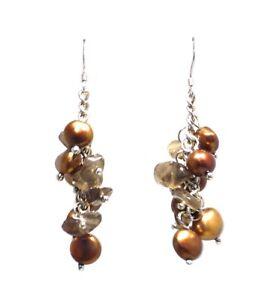 Brown Freshwater Pearls with Natural Crystal Chandelier Earrings