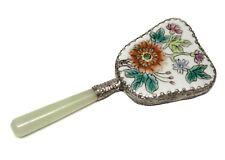 VTG Oriental Floral Porcelain Enamel Small Mirror Silver Frame & Jade Handle