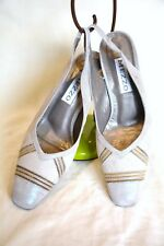 Mezzo Leather Sling Back Shoes Beige Gold Iridescent Size 5.5 Closed Toe Heels