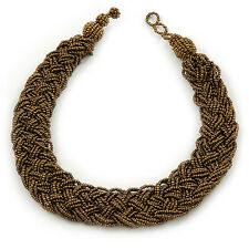 Wide Chunky Golden Bronze Glass Bead Plaited Necklace - 53cm L