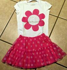 NWT Jumping Bean Pink Bling Flower S/S Top with Pink Dot Tulle Tutu Skirt Size 5