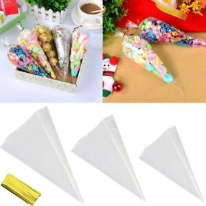 Transparent Cellophane Cone Candy Wedding Plastic Birthday Decoration Party Y7O7