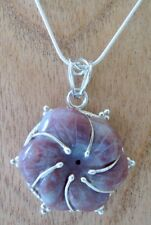 """PINK JASPER & SILVER PLATED FLORAL PENDANT ON SILVER PLATED 20"""" SNAKE CHAIN"""