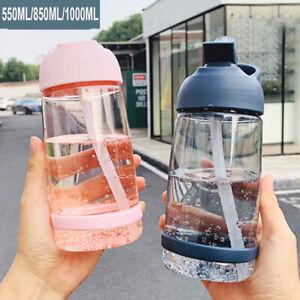 Portable Sports Water Bottle with Straw Outdoor Travel Plastic Drinks Mugs UK