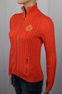 Ralph Lauren Orange Cable Knit Full Zip Sweater Gold Crest NWT