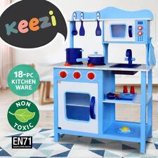 Keezi Kids Kitchen Toys Pretend Play Set Wooden Toy Children Cooking Cookware