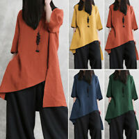 ZANZEA 8-24 Women Short Sleeve Pullover Tee T Shirt Top Asymmetric Tunic Blouse