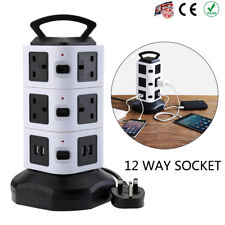 3 Layer 12 Way USB Port Tower Power Strip Surge Protector Socket Extension Lead