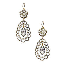 Chloe and Isabel Pearl + Crystal Floral Filigree Earrings  E014