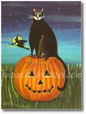 HALLOWEEN CAT on PUMPKIN Primitive Folk Art Print Artist signed Wendy Presseisen