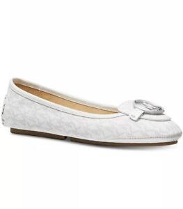 NIB - Michael Kors Lillie Moccasin Closed Toe Mini MK Logo White Flats -Size 7.5