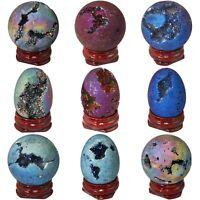 Egg/Sphere Shape Titanium Coated Quartz Druzy Geode Specimen Ornament Collection