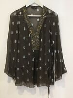 Hale Bob Dress Top Kaftan Grey Gold Long Short Summer Floral S Silk Patterned