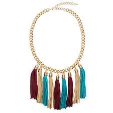 Statement Gold Tassel Necklace Colourful Suede Bib Fringe Chunky Chain Boho
