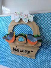 "EUC Handmade ""Welcome"" Wreath For Door Spring Time Theme With Birds Seasonal"