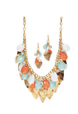 Shakey Leaf Necklace w Faceted Mint, Coral and White Beads and Earrings Gift Set