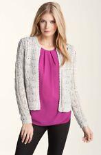 NEW CLASSIQUES ENTIER Floriana Open Stitch Sweater Boxy Metallic Cardigan L Gray