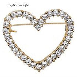 VINTAGE STYLE GOLD CLEAR CRYSTAL HEART BROOCH PIN LOVE BRIDAL WEDDING BIRTHDAY